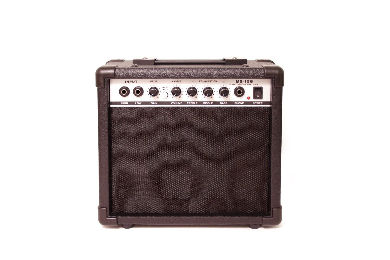 pitchmaster full size black electric guitar package 15 watt amp tuner ebay. Black Bedroom Furniture Sets. Home Design Ideas