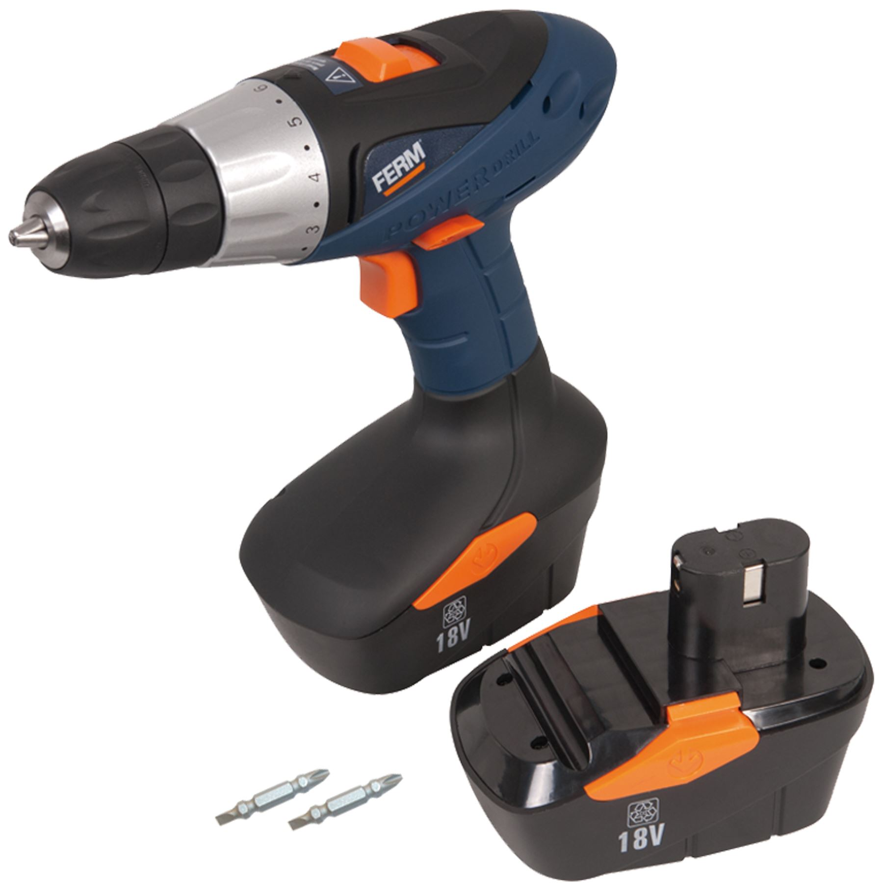 Ferm Power 18v Cordless Drill With Bundled Items Variable Speed