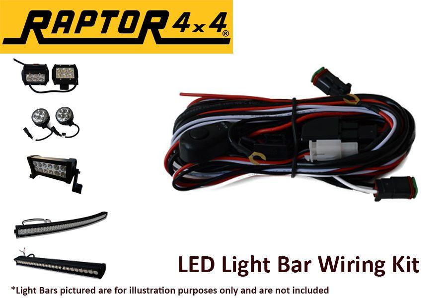 raptor 4x4 wiring kit led light bars spot lights off road. Black Bedroom Furniture Sets. Home Design Ideas