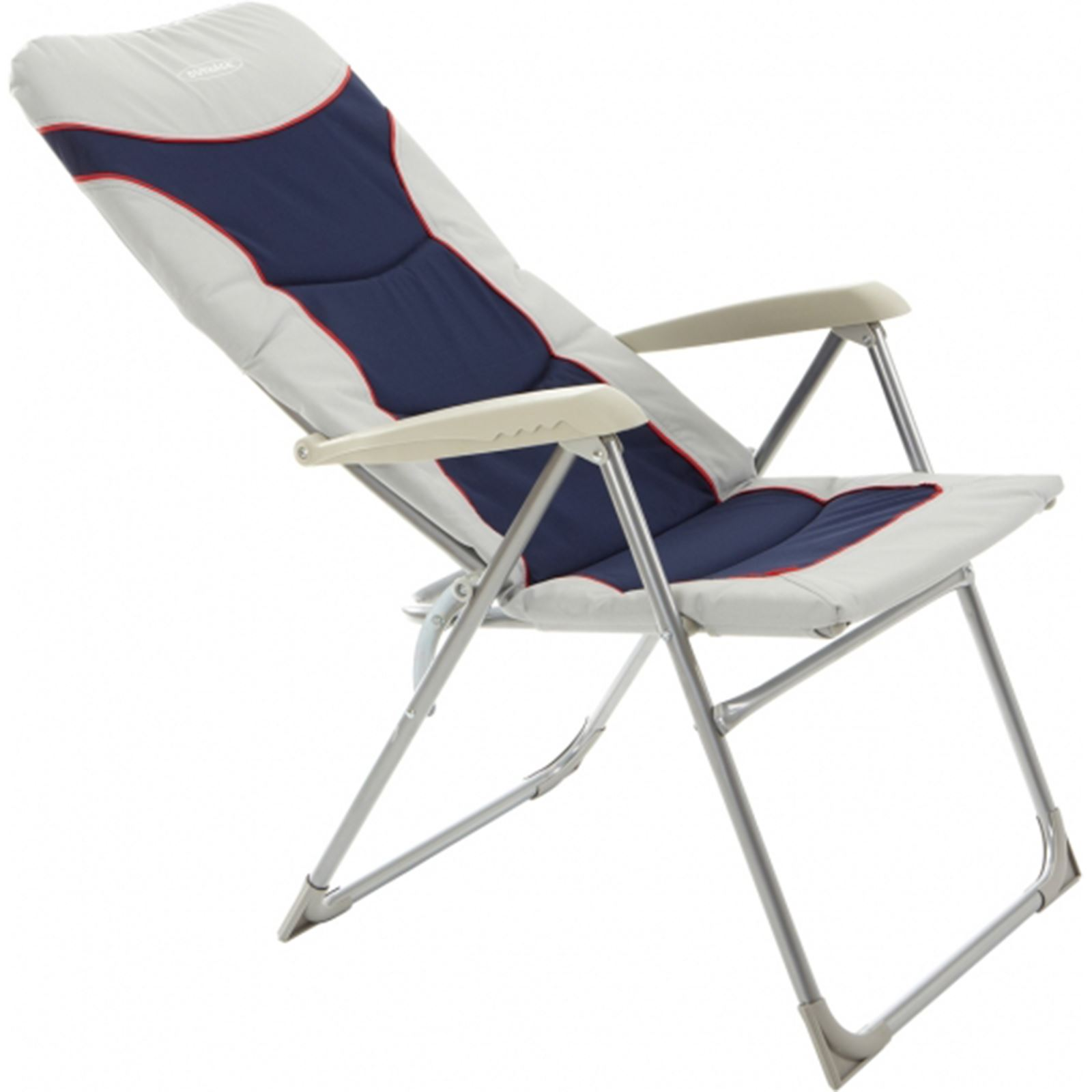 Outback High Back Recliner Folding Chair Blue Silver Camping Caravan Garden