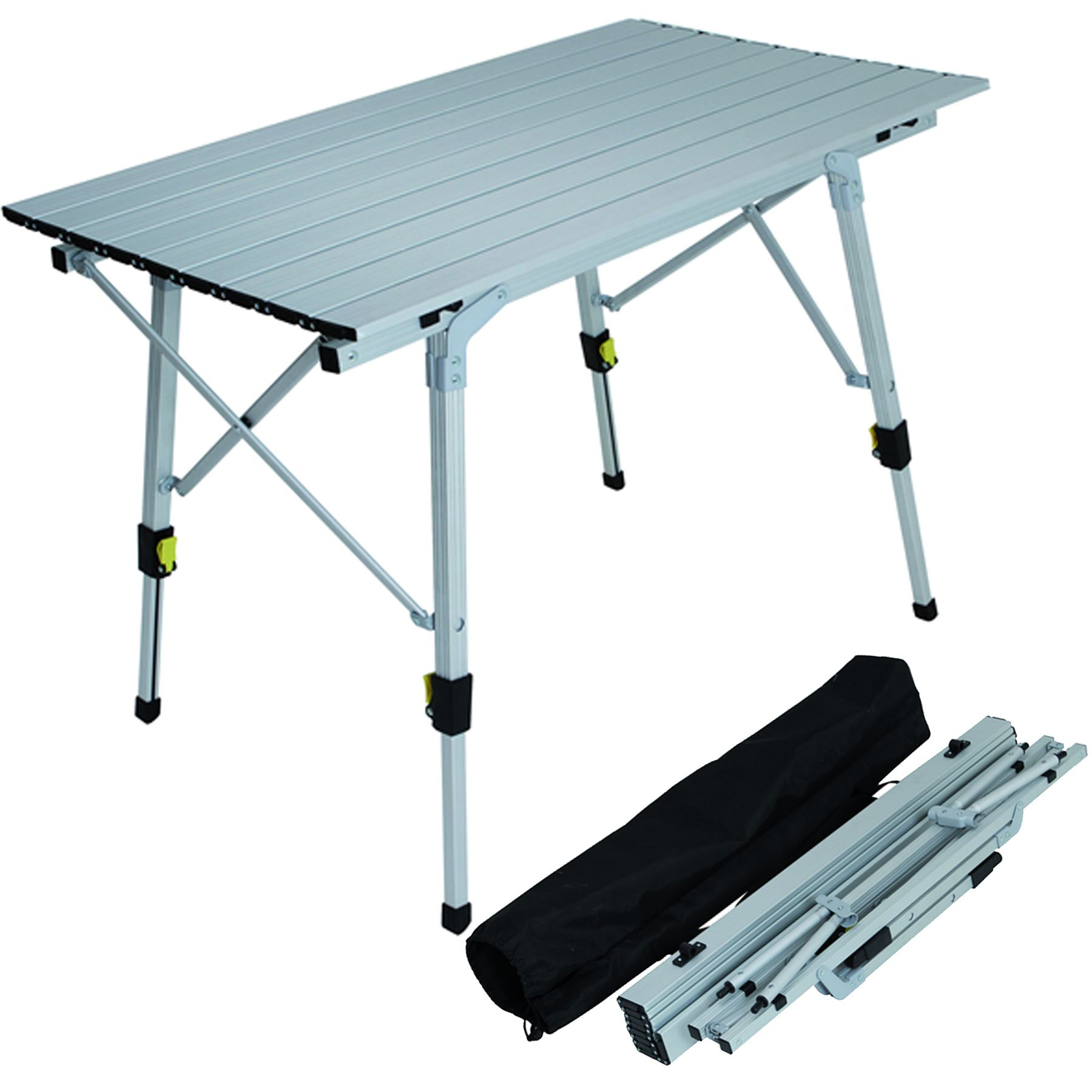 Adjustable aluminium lightweight slatted folding table - Camping table adjustable height ...