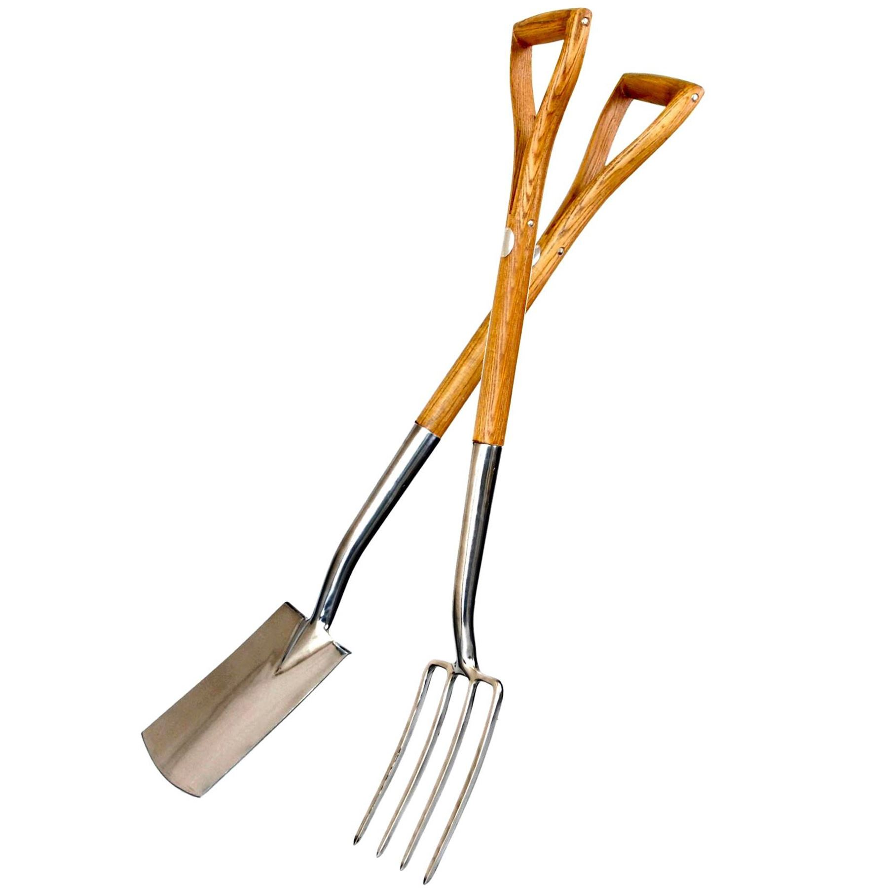 Stainless steel garden border fork spade set ash wood for Garden fork and spade set
