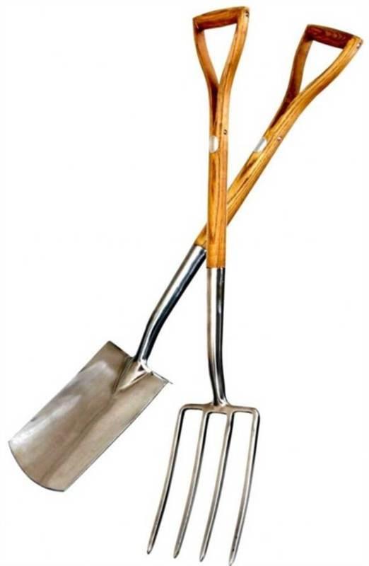 Stainless steel garden digging fork spade ash handle ebay for Power garden digging tools