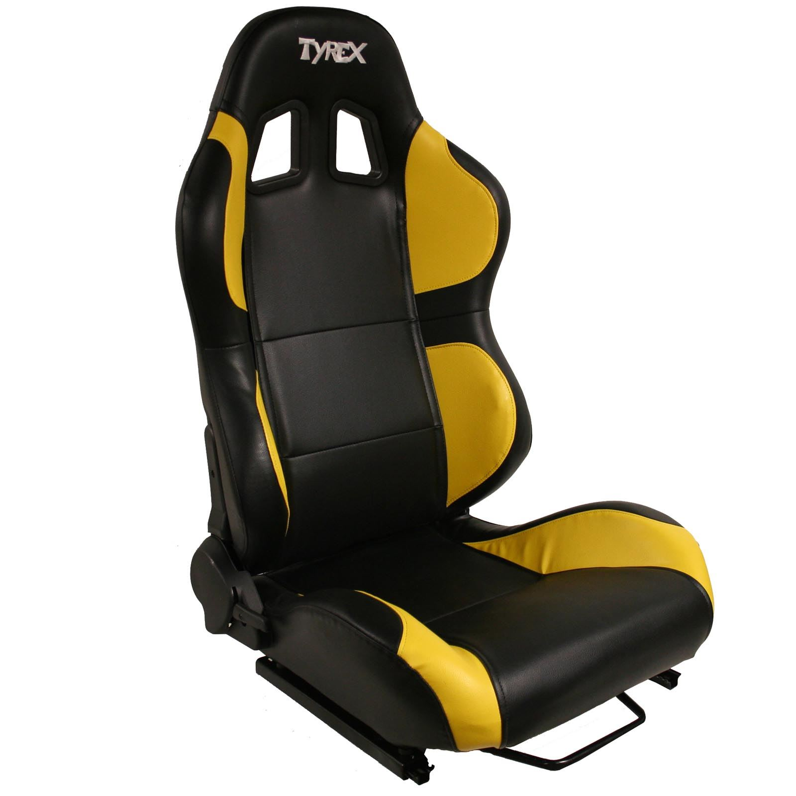 raptor 4x4 tyrex sports bucket seat black and yellow faux leather off road race ebay. Black Bedroom Furniture Sets. Home Design Ideas