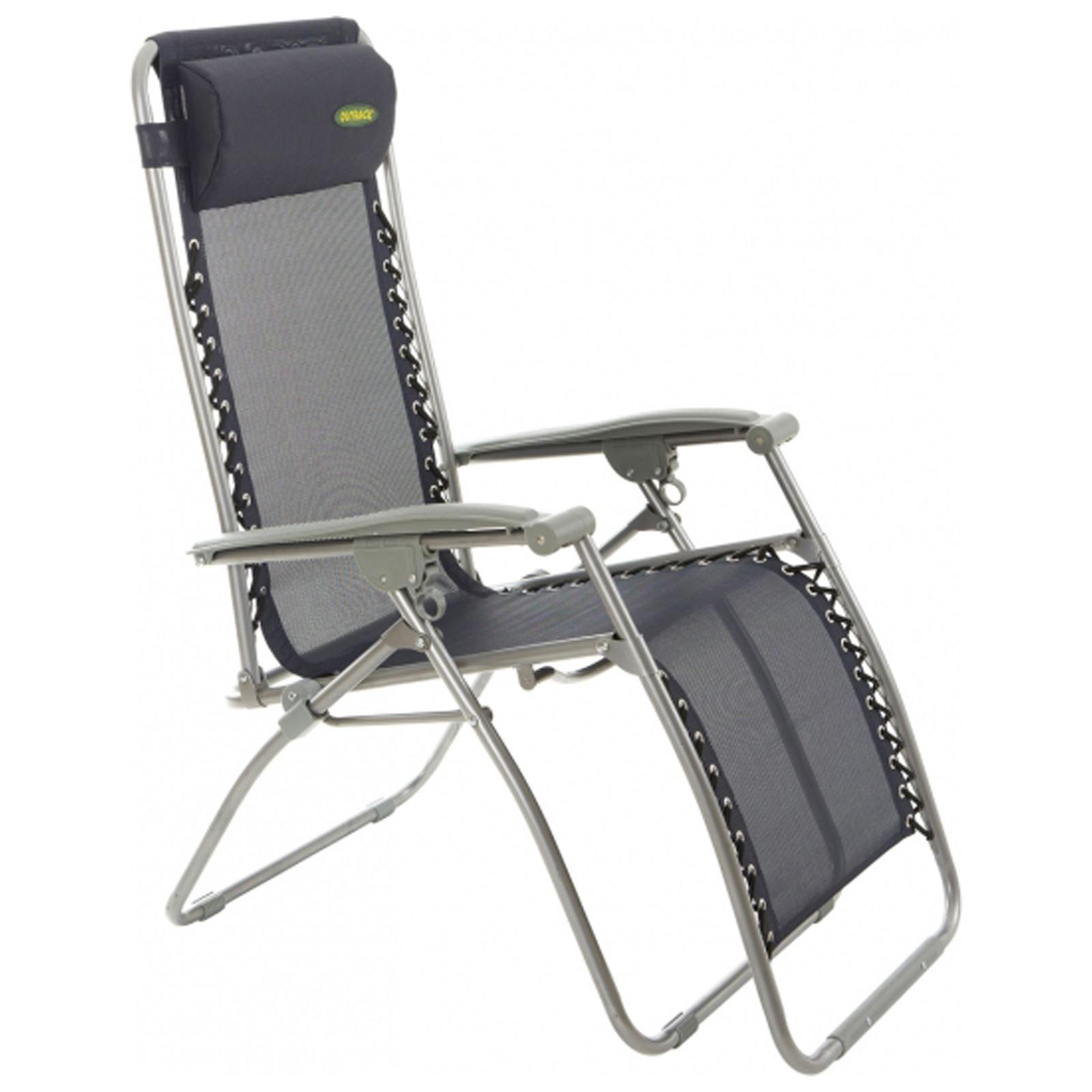 Outback blue textilene recliner folding gravity chair garden camping