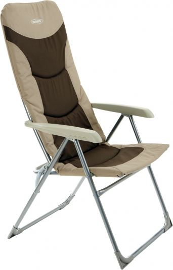 Outback High Back Recliner Folding Chair Beige Brown Camping Caravan Garden