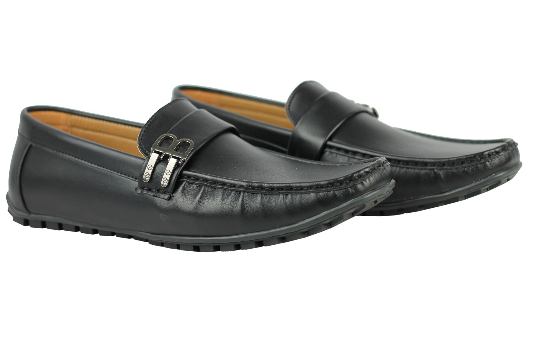 mens faux leather b buckle smart casual shoes loafers ebay