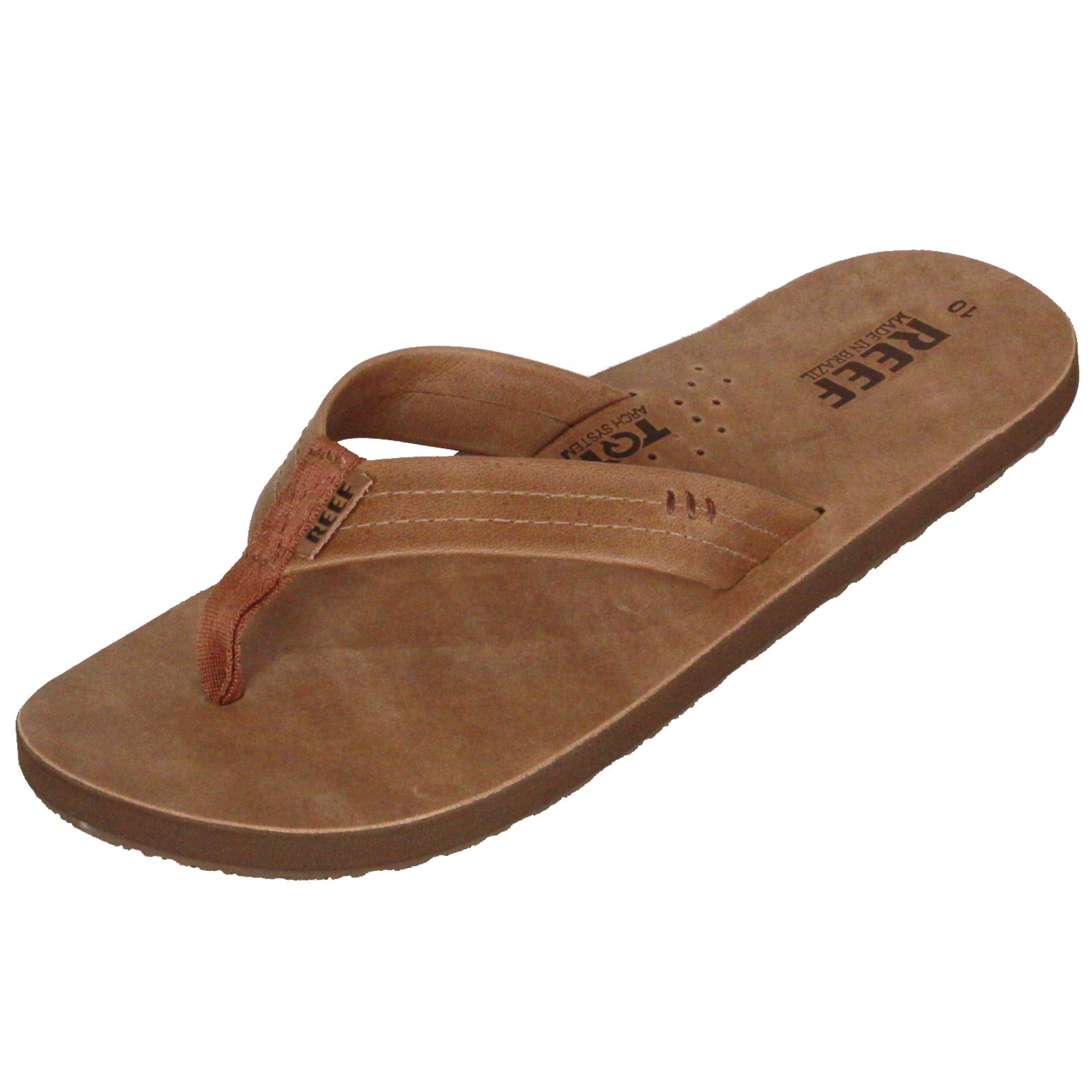 reef leather men 39 s sandal with bottle opener draftsman brown ebay. Black Bedroom Furniture Sets. Home Design Ideas