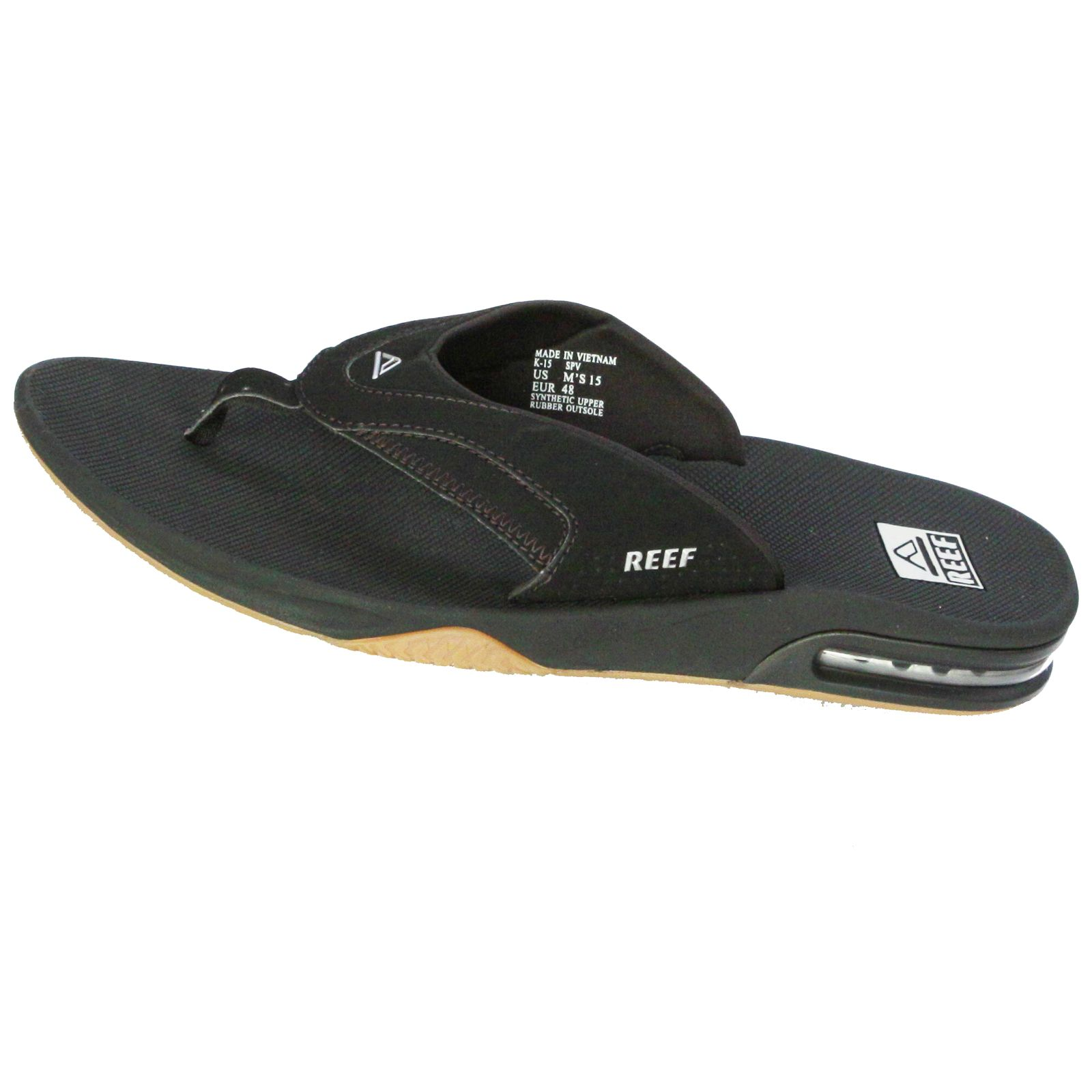 reef water friendly mens sandals with bottle opener fanning black silver ebay. Black Bedroom Furniture Sets. Home Design Ideas