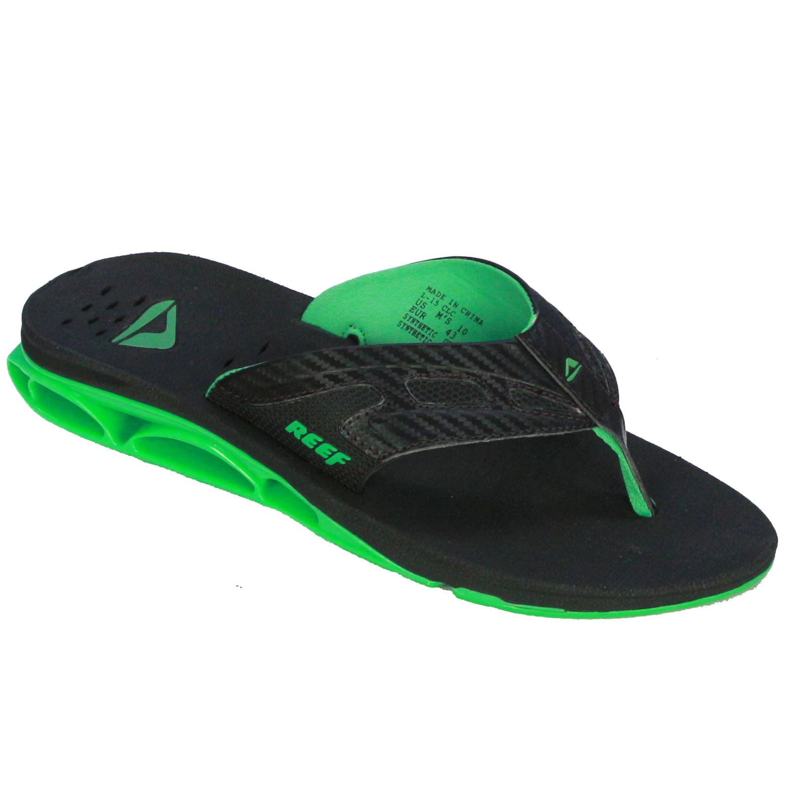 reef men 39 s sandal with bottle opener xs1 black green ebay. Black Bedroom Furniture Sets. Home Design Ideas