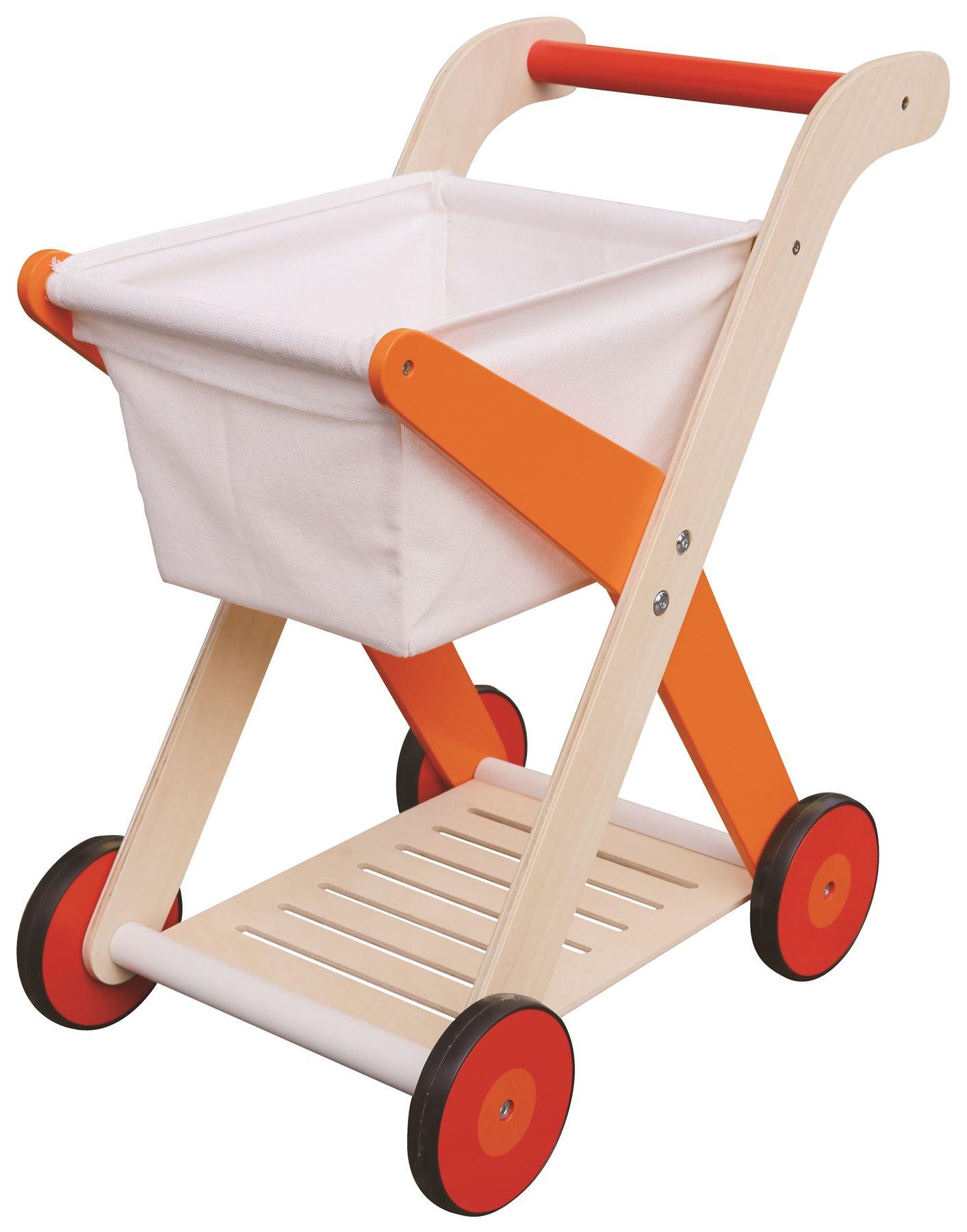 lelin children kids wood wooden shopping trolley cart pretend play toy ebay. Black Bedroom Furniture Sets. Home Design Ideas