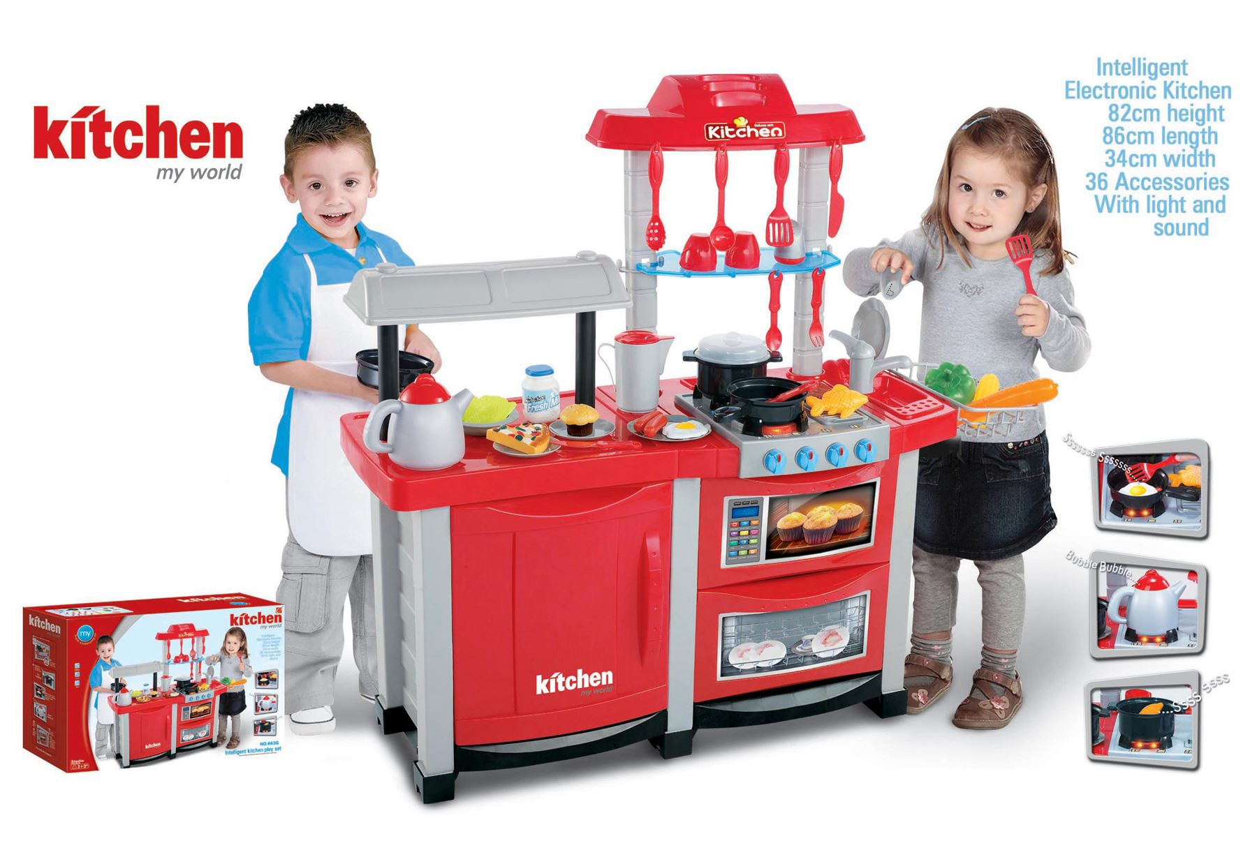Electronic Red Lights And Sounds Childrens Kids Pretend Play Kitchen Cooking Set Ebay