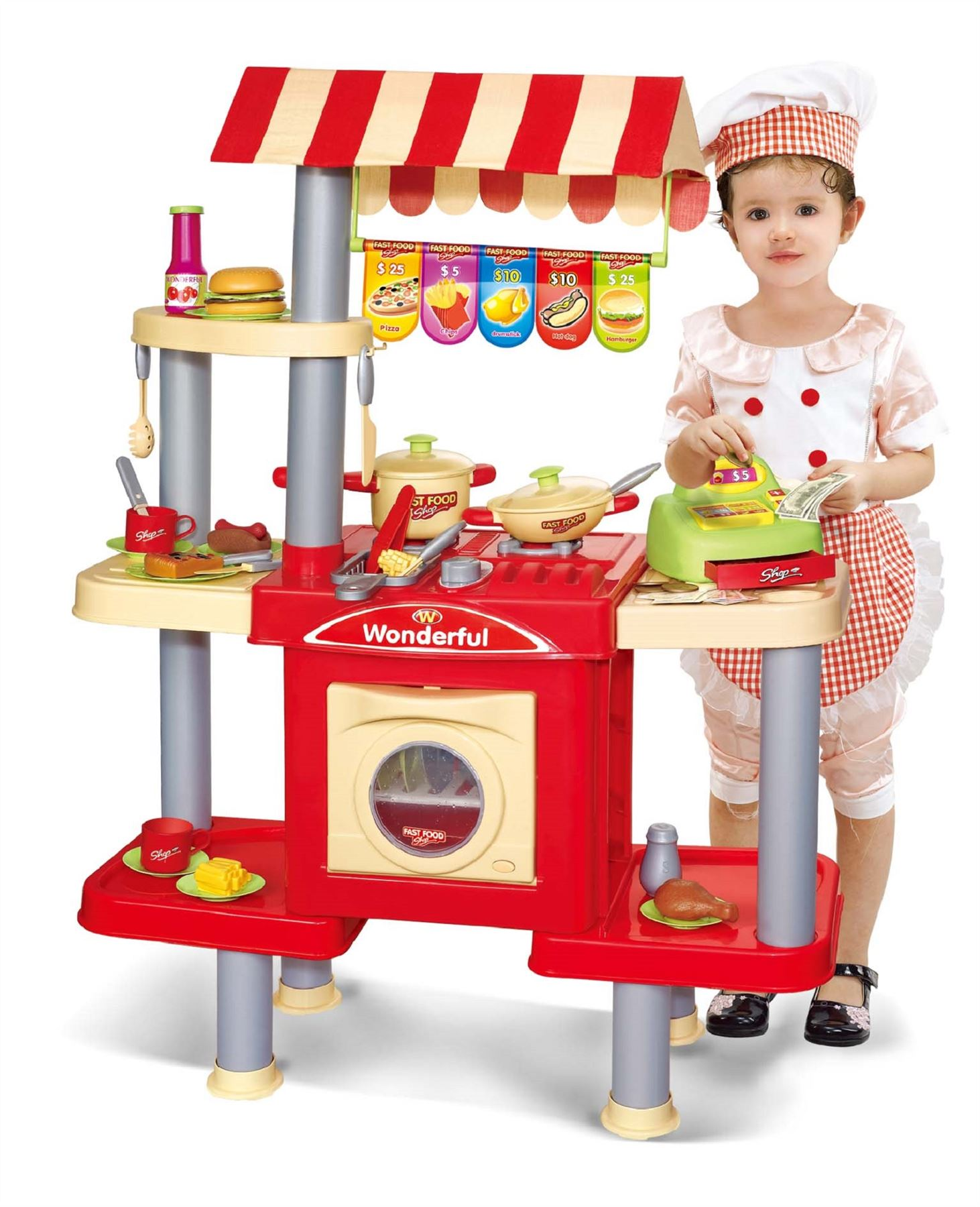 Fast Food Toys : Childrens kids pretend play fast food kitchen cooking