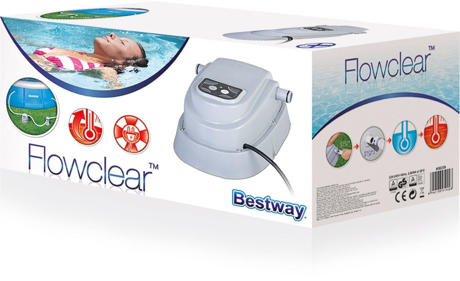 bestway electric swimming pool heater up to 15ft 2 8kw 2800w for above ground ebay