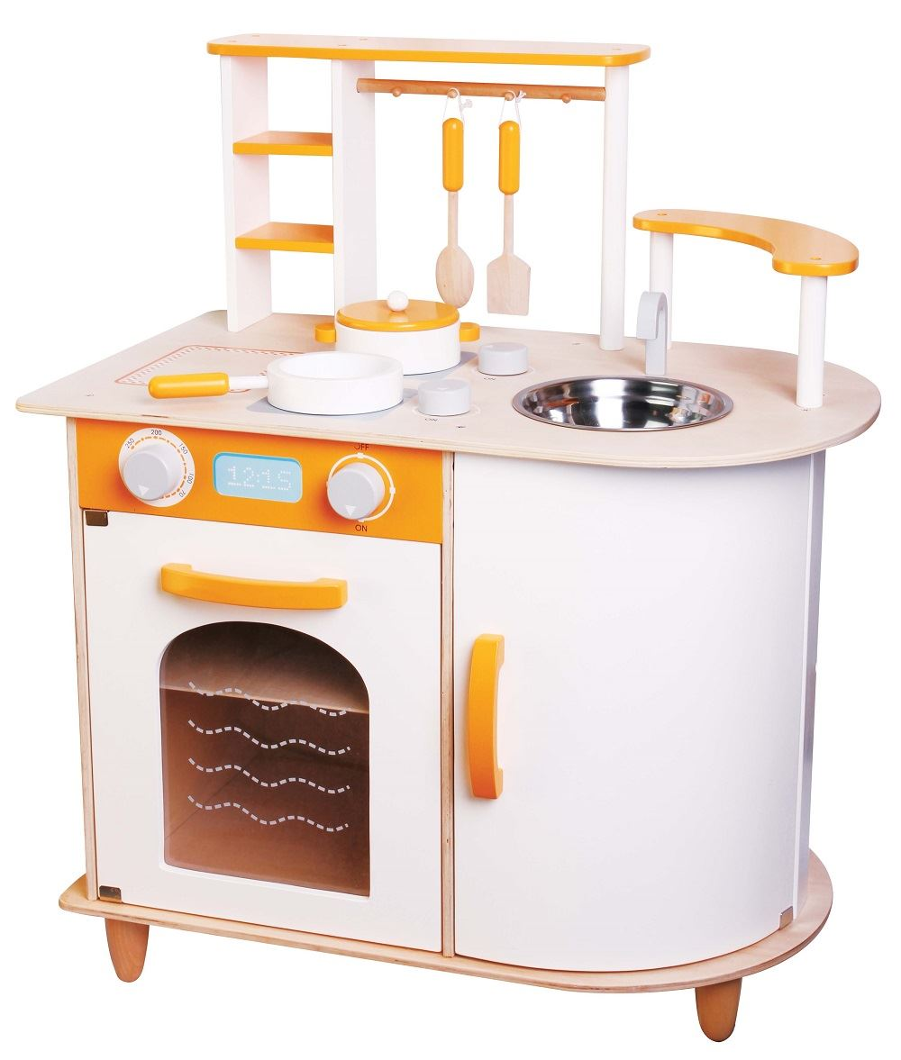 Lelin wooden wood childrens pretend play kitchen cooking for Cuisine wooden