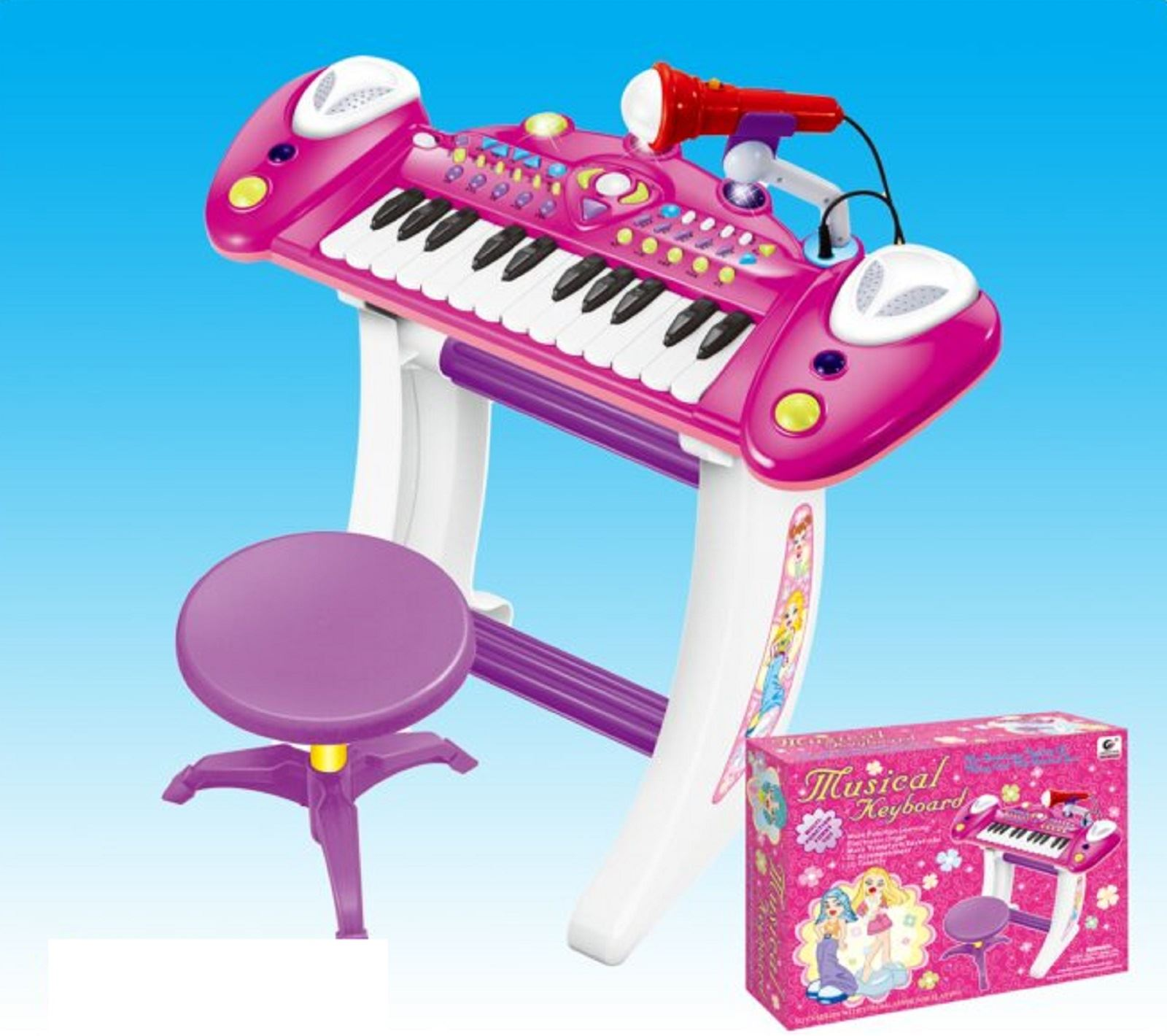 Pink Childrens Pink Musical Keyboard Piano Voice