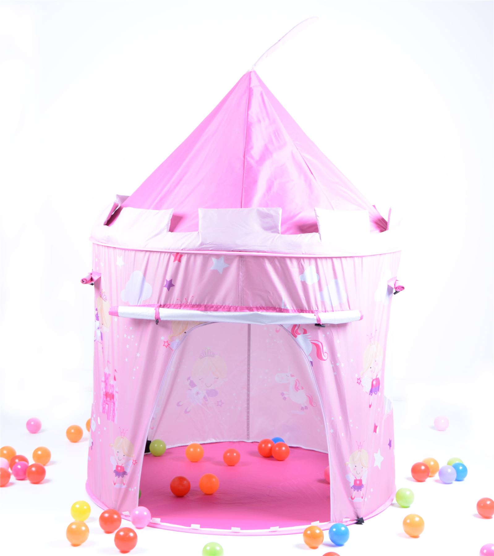 pink fairy tale princess castle childrens pop up play tent