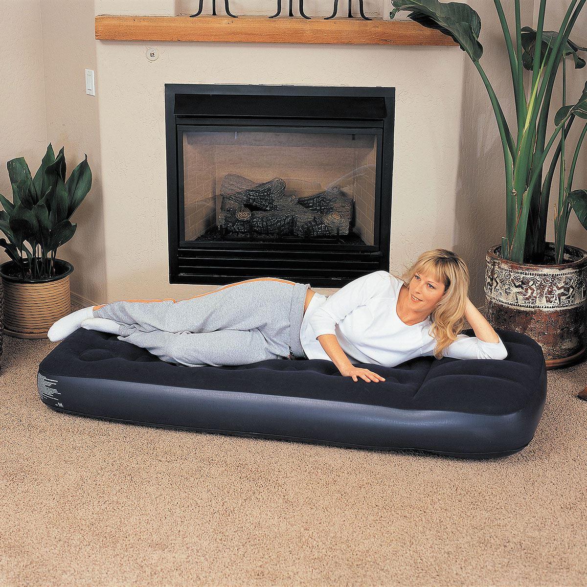 bestway inflatable blow up flocked guest sleeping airbed. Black Bedroom Furniture Sets. Home Design Ideas