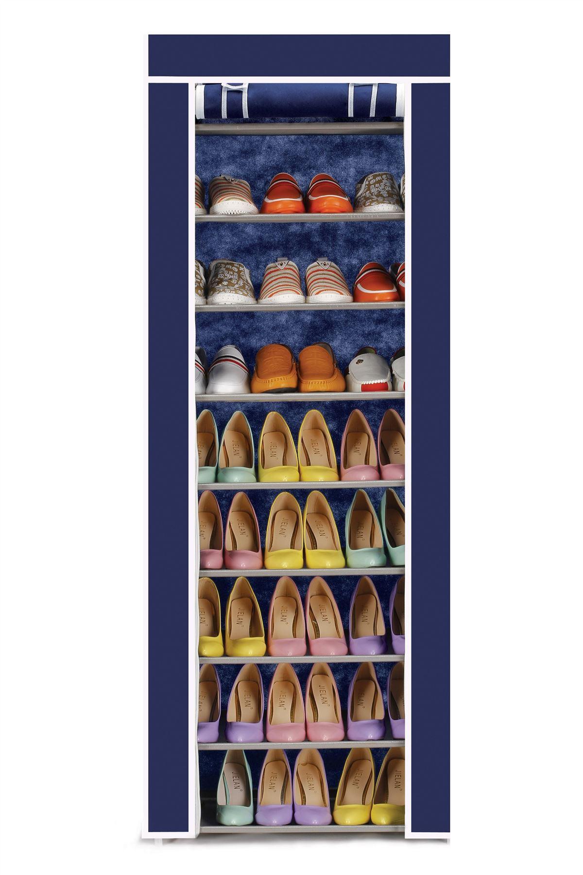 vinsani 9 tier canvas shoe rack standing storage organiser