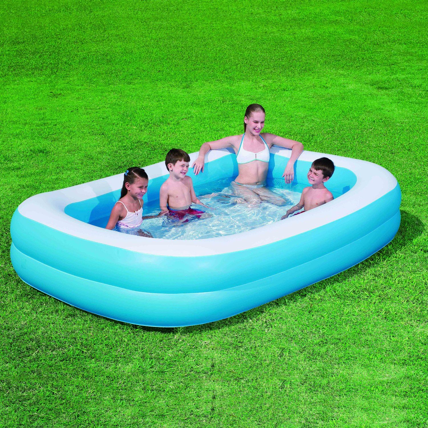 Deluxe inflatable blue rectangular family outdoor garden for Garden paddling pools