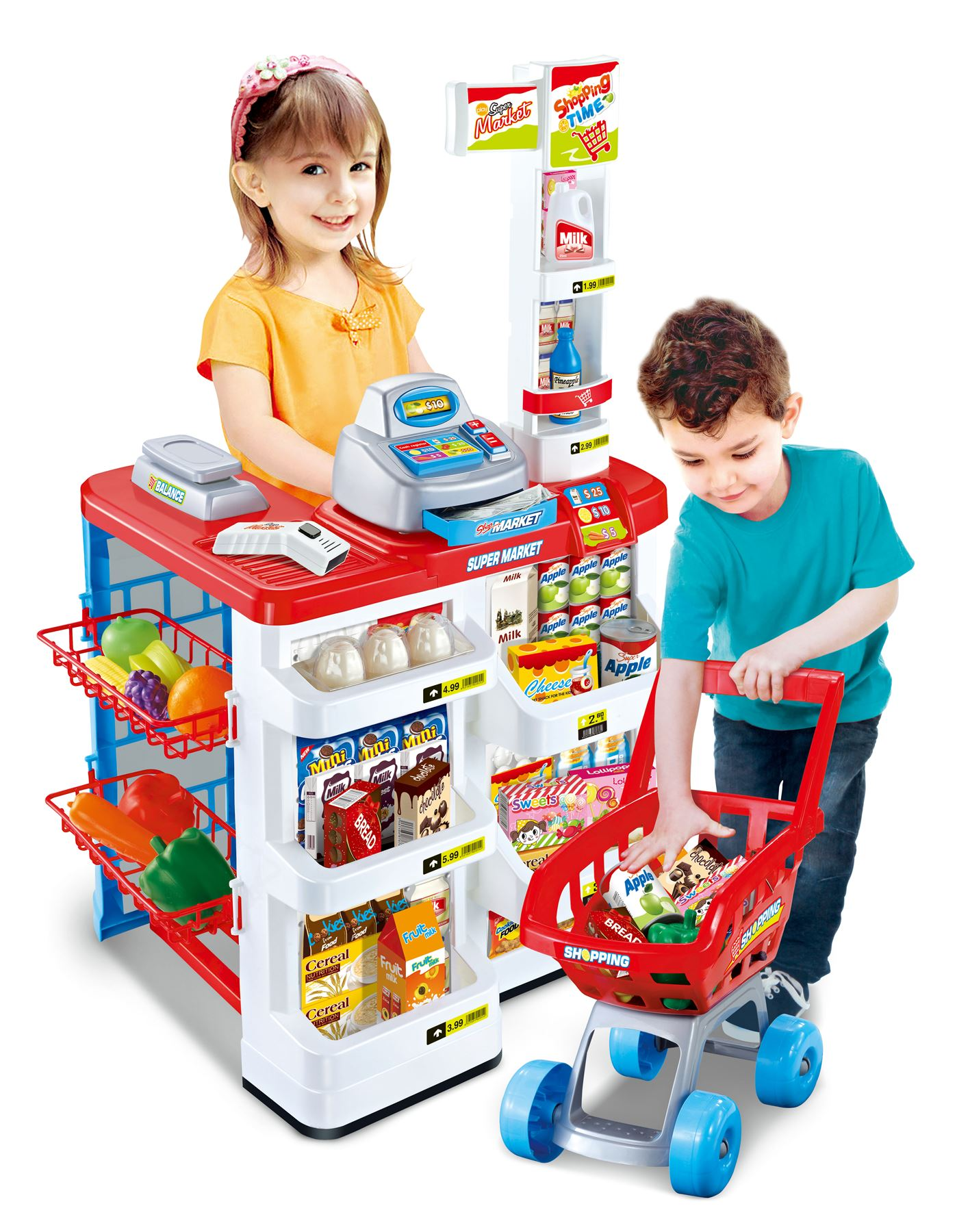 vinsani kids pretend play supermarket shop toys set includes trolley 2 colours ebay. Black Bedroom Furniture Sets. Home Design Ideas