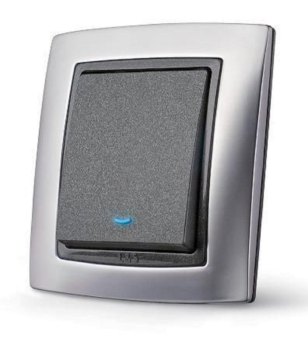 y black chrome designer light switch 1 2 3 gang 2 way ebay. Black Bedroom Furniture Sets. Home Design Ideas