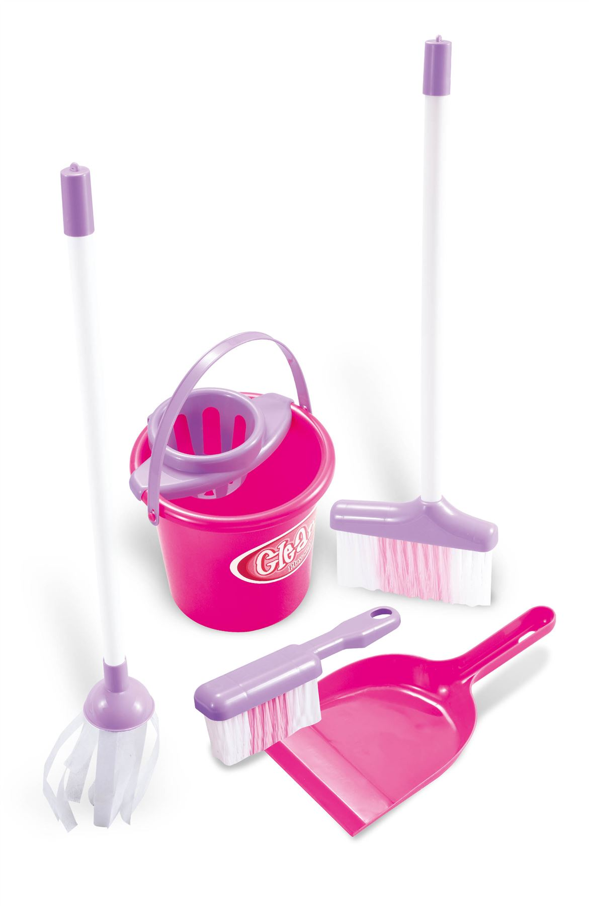 Childrens Kids Pretend Play Cleaning Bucket Dustpan And