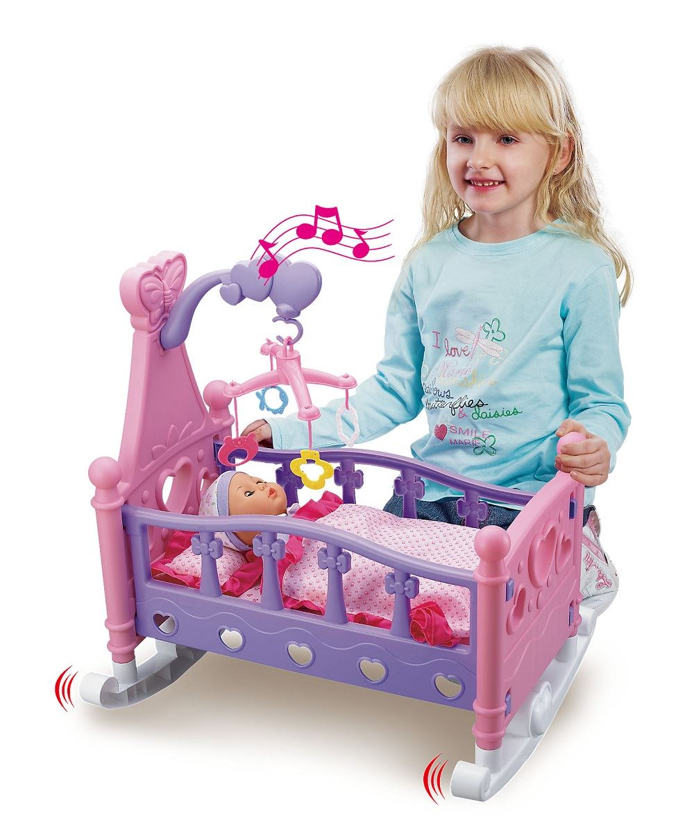 Mommy Amp Baby Childrens Pretend Play Rocking Musical Cradle