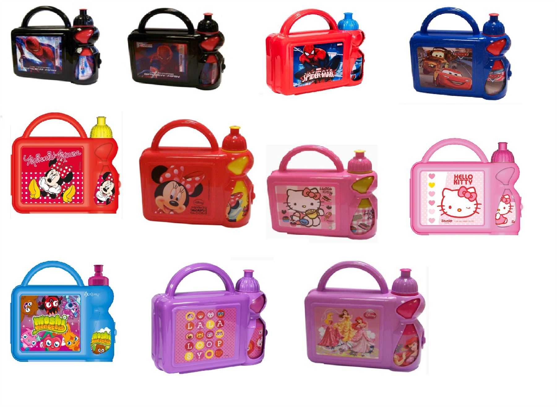 KIDS CHILDRENS CHARACTER SCHOOL LUNCH BOX / BAG WITH WATER BOTTLE