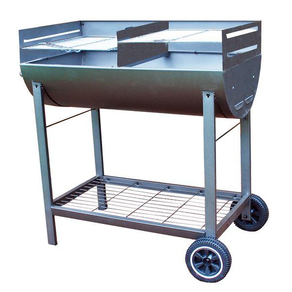demi tonneau jardin ext rieur anthracite r glable oil drum barbecue grill ebay. Black Bedroom Furniture Sets. Home Design Ideas