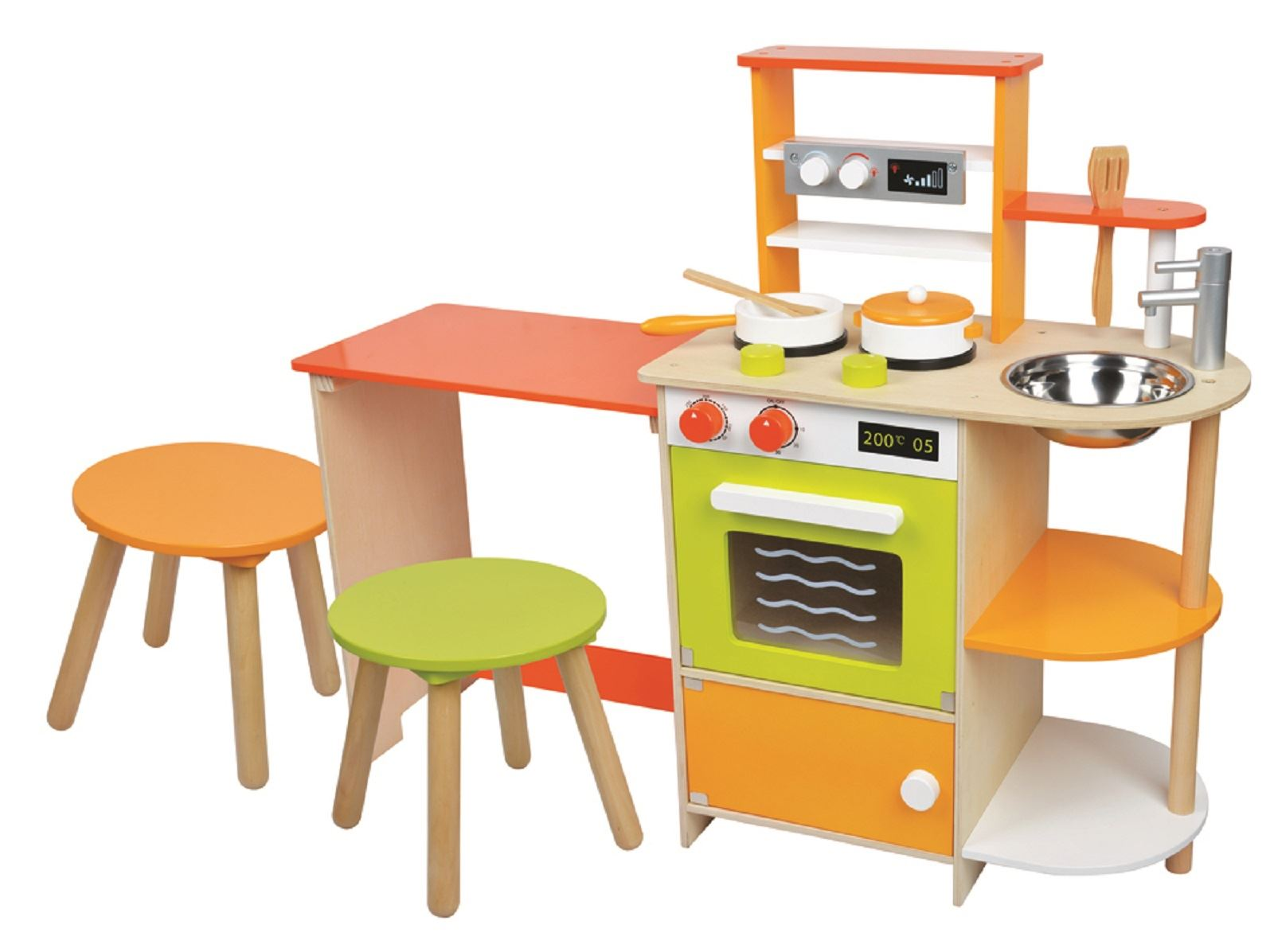 Lelin wooden childrens 2 in 1 pretend play kitchen and - Childrens wooden play kitchen ...