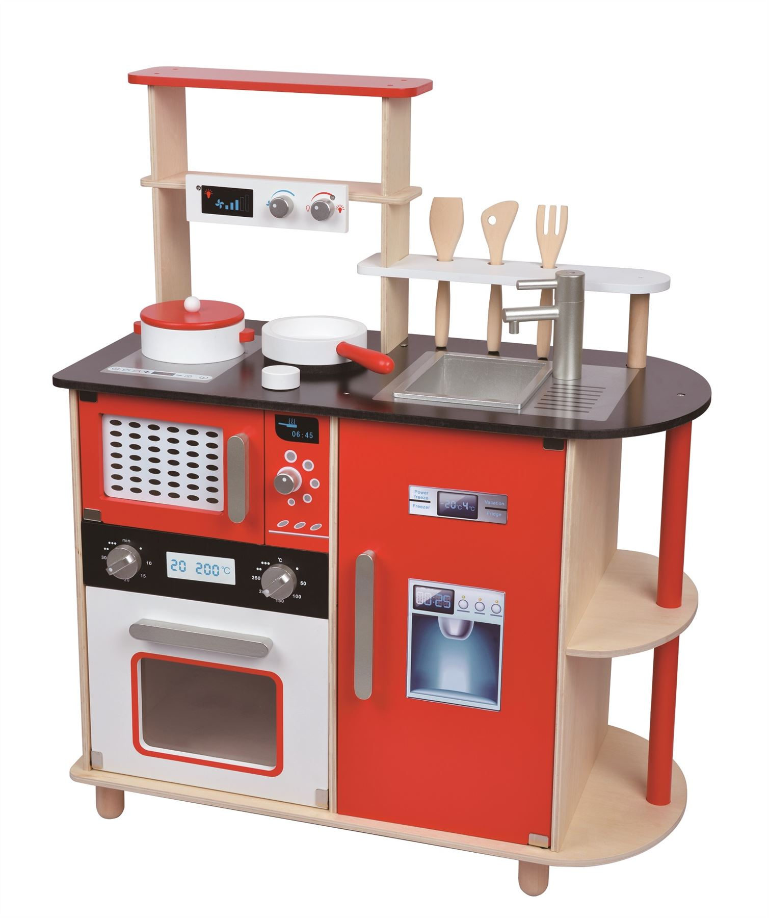 Lelin Wooden Childrens Pretend Play Modern Kitchen Cooking Toy With Pots Pans Ebay