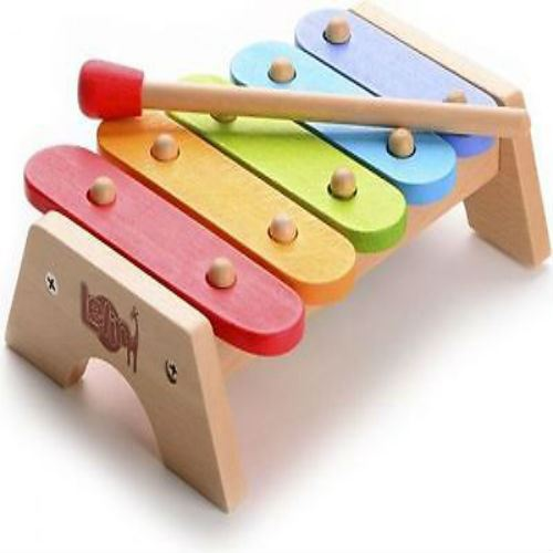 Lelin children kids wooden rainbow xylophone learning