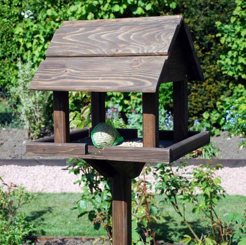 Deluxe Free Standing Wooden Garden Outdoor Bird Feeding ...
