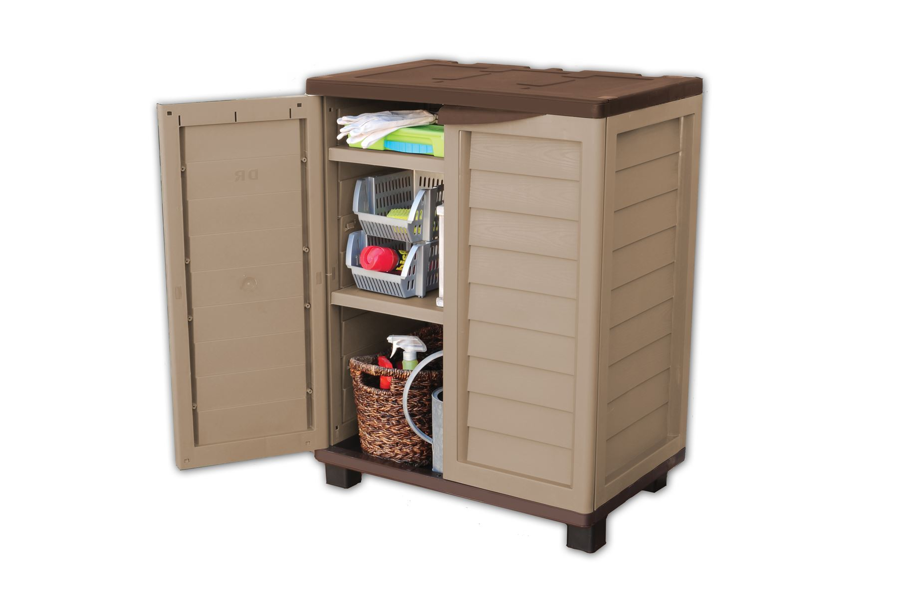 Garden Indoor Outdoor Garage Storage Low Utility Cabinet With 2 Shelves Mocha Ebay