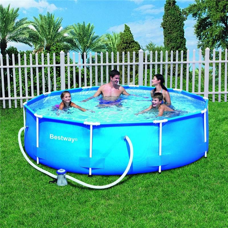 10ft 12ft steel frame family childrens outdoor garden for Garden swimming pool ebay