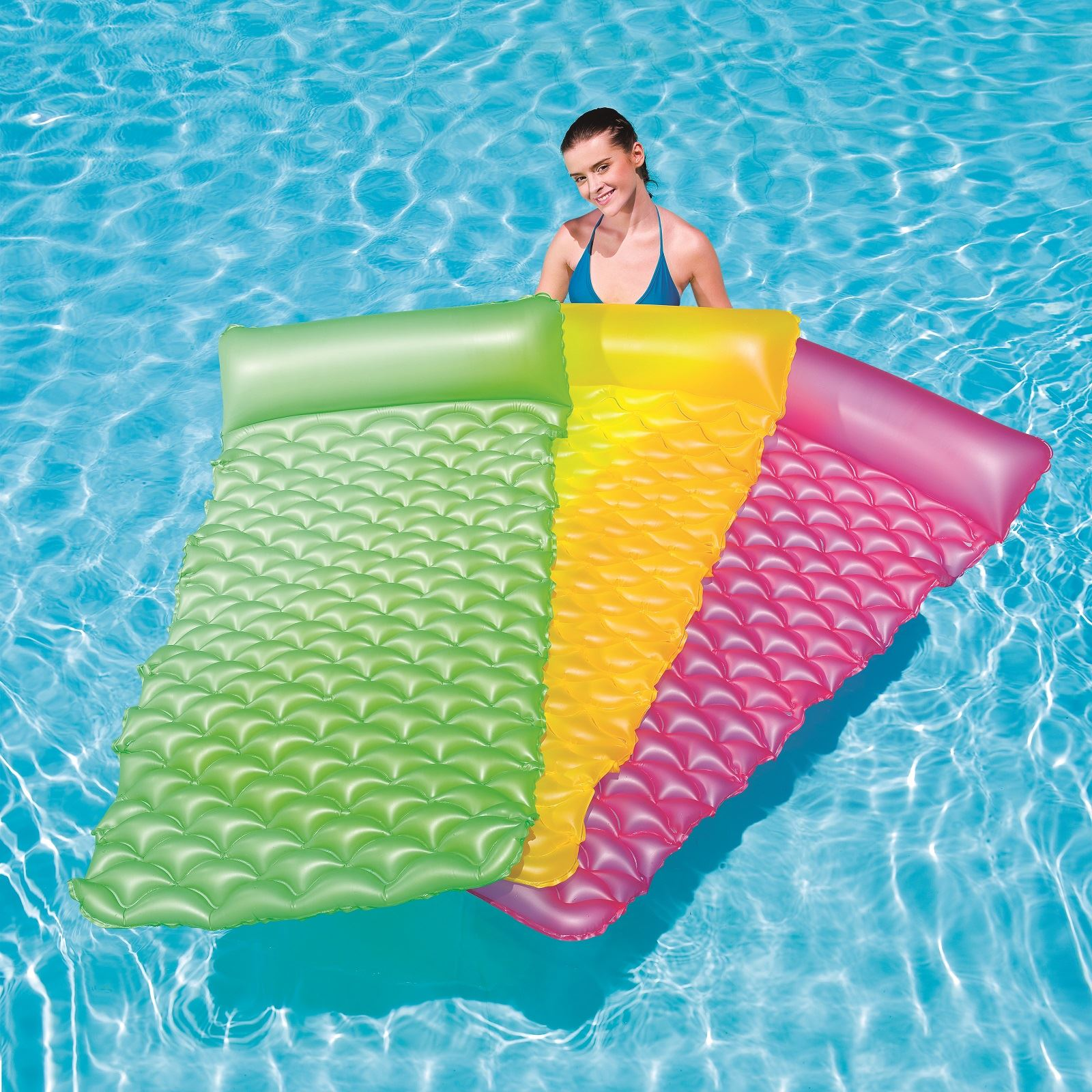 Bestway inflatable 84 x34 float n roll swimming pool air for Swimming pool bed