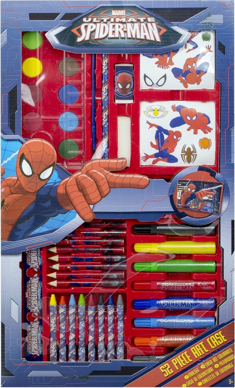 DISNEY CHARACTER CHILDRENS KIDS PAINTING DRAWING COLOURING STATIONERY SET 52PC
