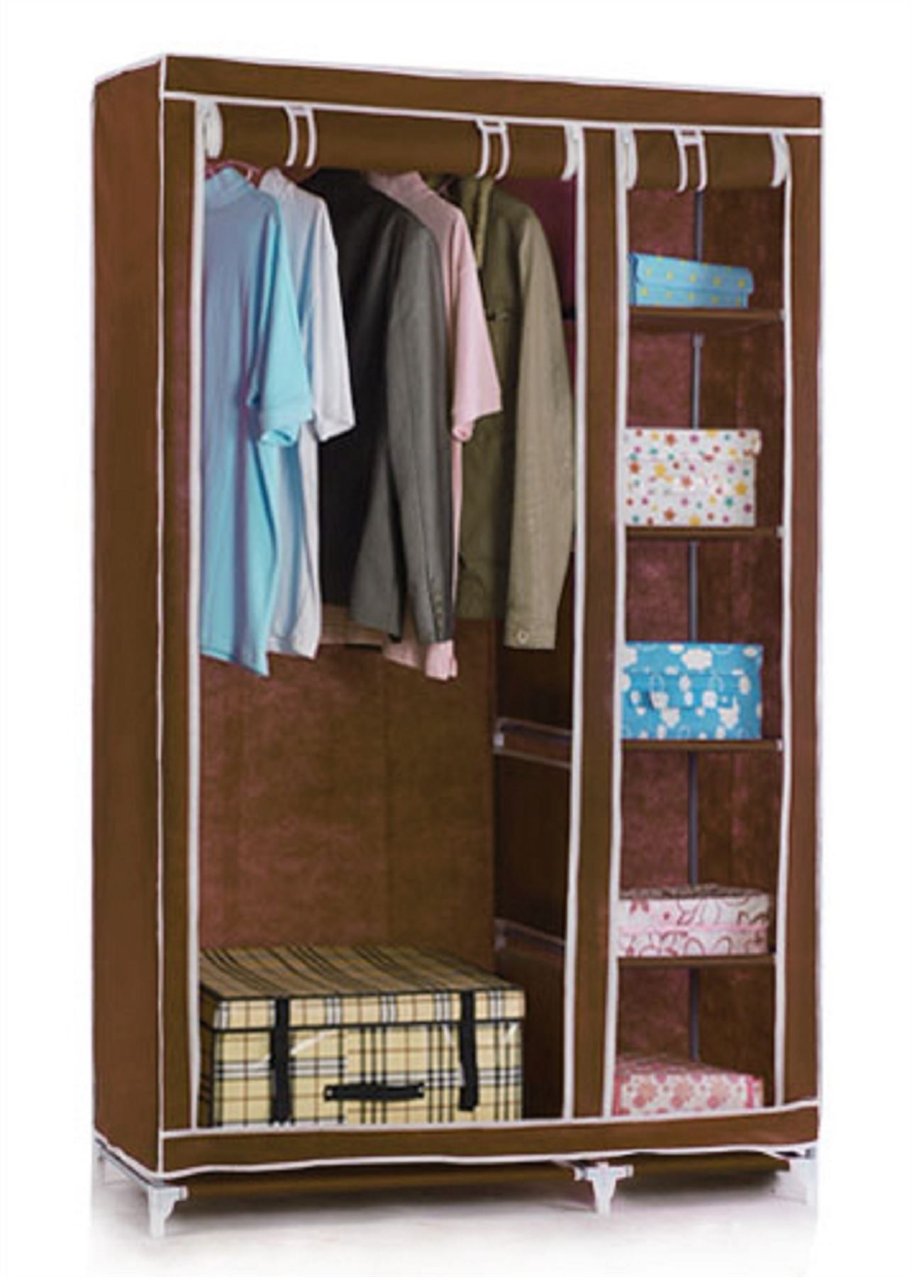 Double Canvas Foldable Clothes Wardrobe Closets Cupboard ...