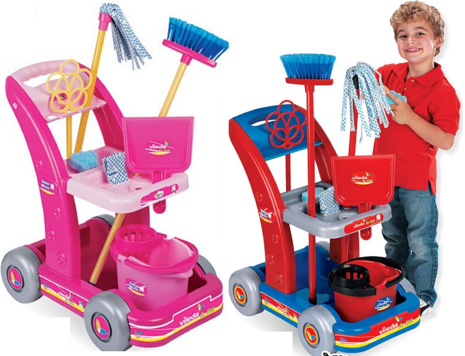 Vileda Childrens Kids Pretend Play Brush Mop Bucket