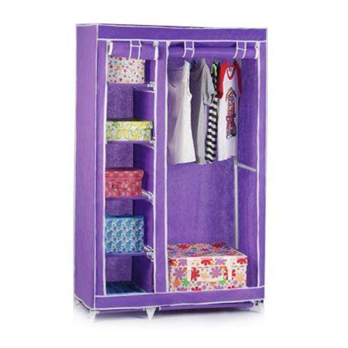 Double Canvas Foldable Clothes Wardrobe Closets Cupboard