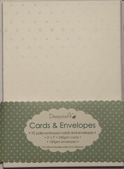 """Envelopes Dovecraft 60x White Polka Dot 5/""""x7/"""" Embossed Card Blanks"""