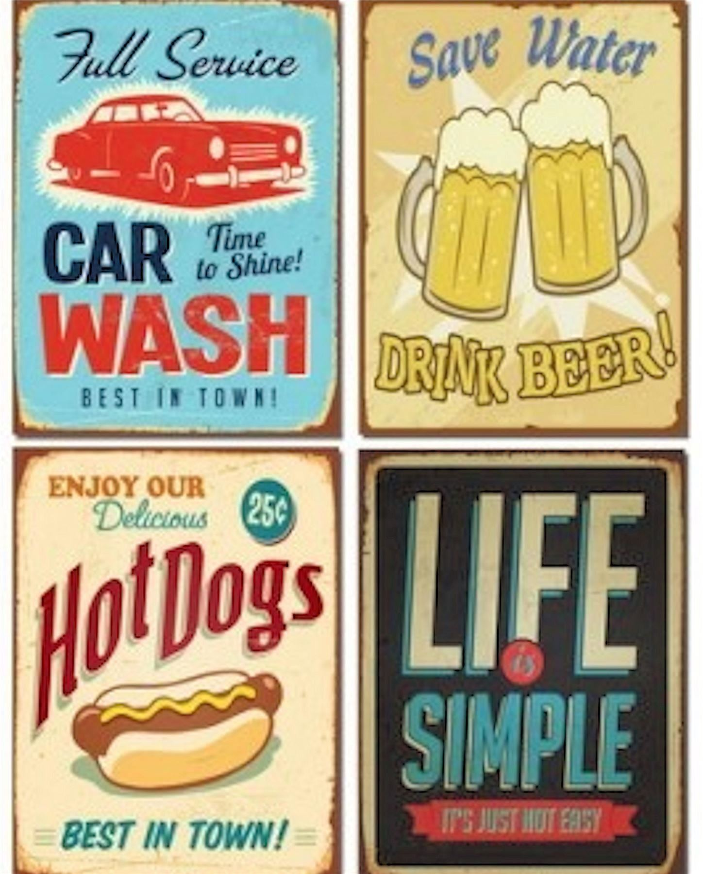 RETRO WALL ART VTG PICTURE PAINTING ADVERTISING SIGN CANVAS PRINT ...