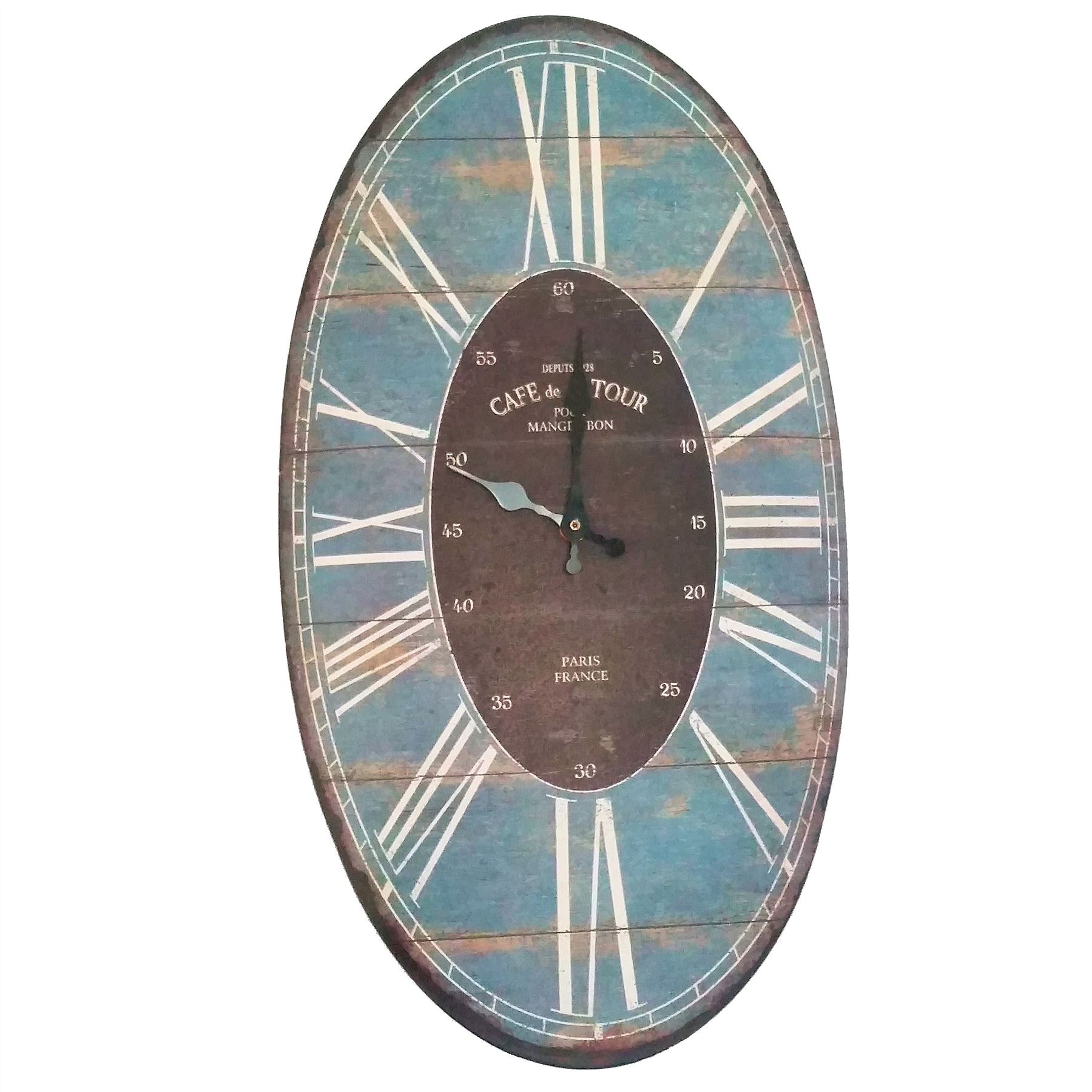 Large French Wall Clock Shabby Vintage Country Chic Tin