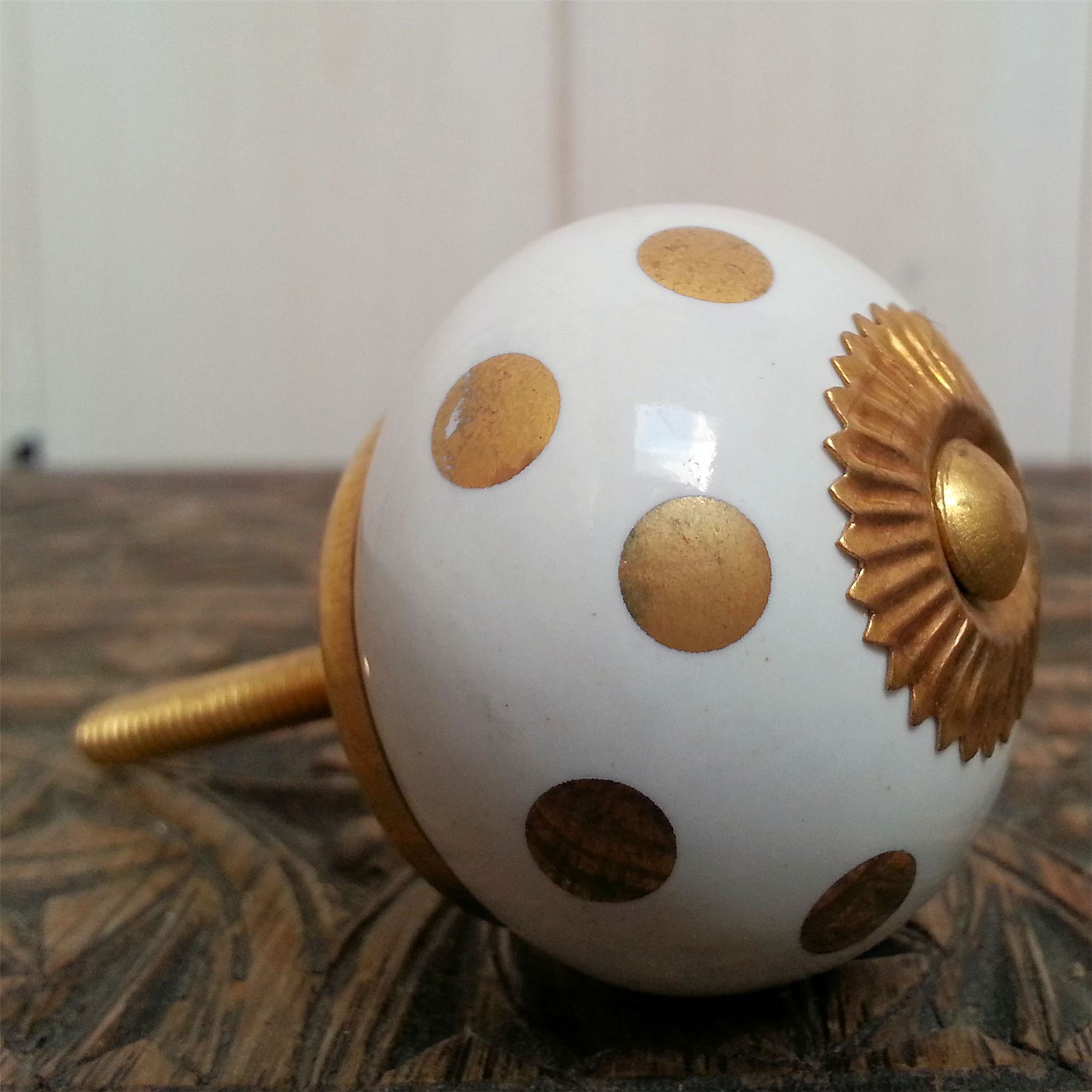 lots of ceramic door knobs fun brights polka dots stripes