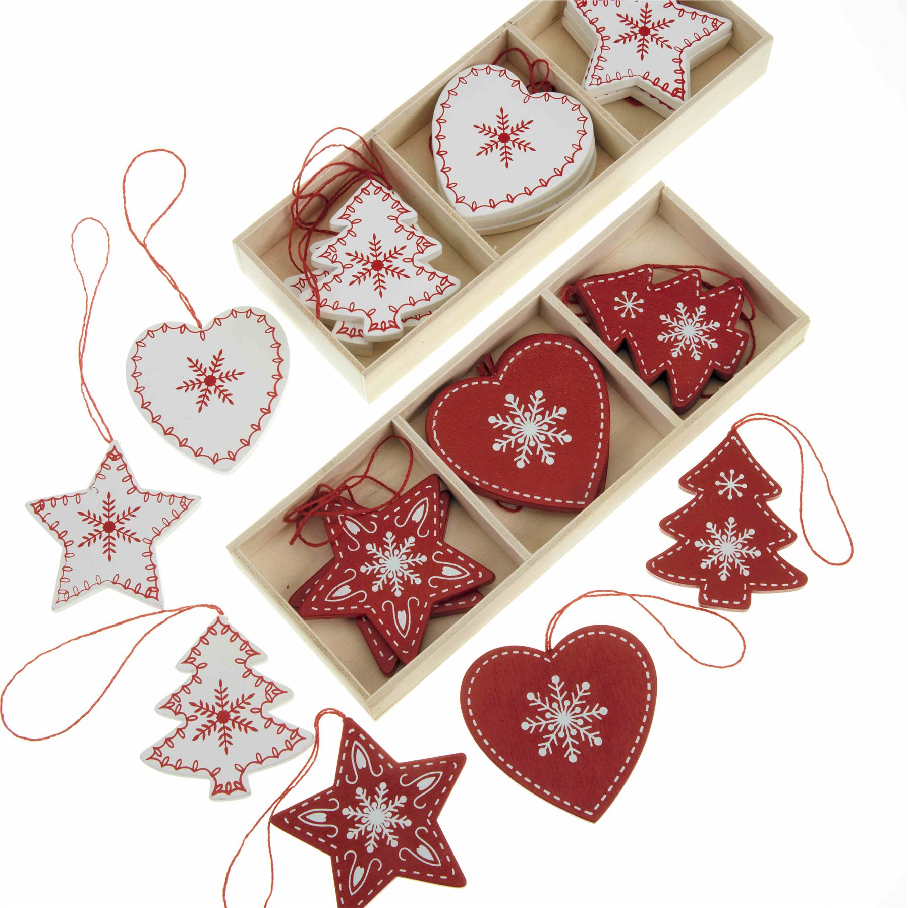 Nordic christmas ornaments - Lots Box Sets Nordic Wooden Christmas Decorations Shabby