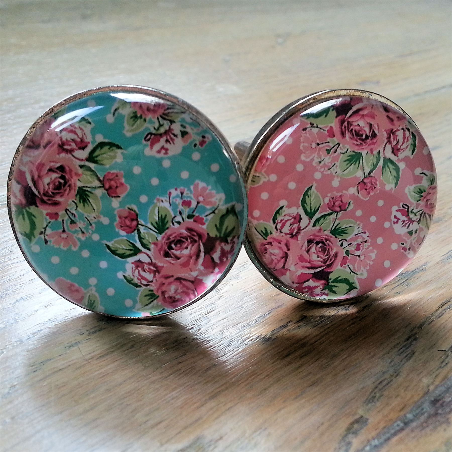 Vintage glass knobs furniture drawer pulls handles shabby roses chic pink blue ebay Glass furniture pulls