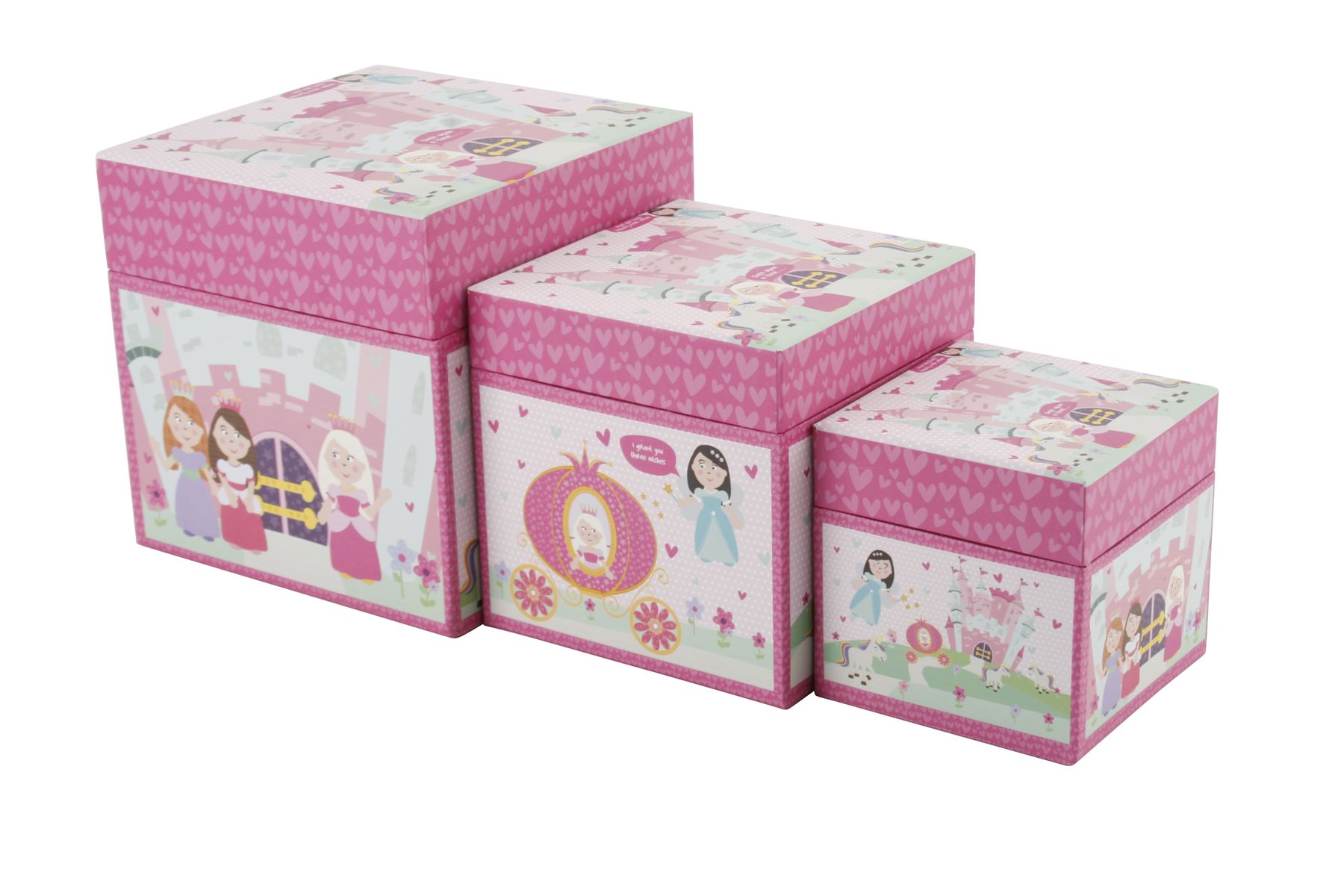Childrens Kids Bedroom Furniture Set Toy Chest Boxes Ikea: SET 3 X GIRLS PRINCESS STORAGE BOXES Toy Kids Childrens