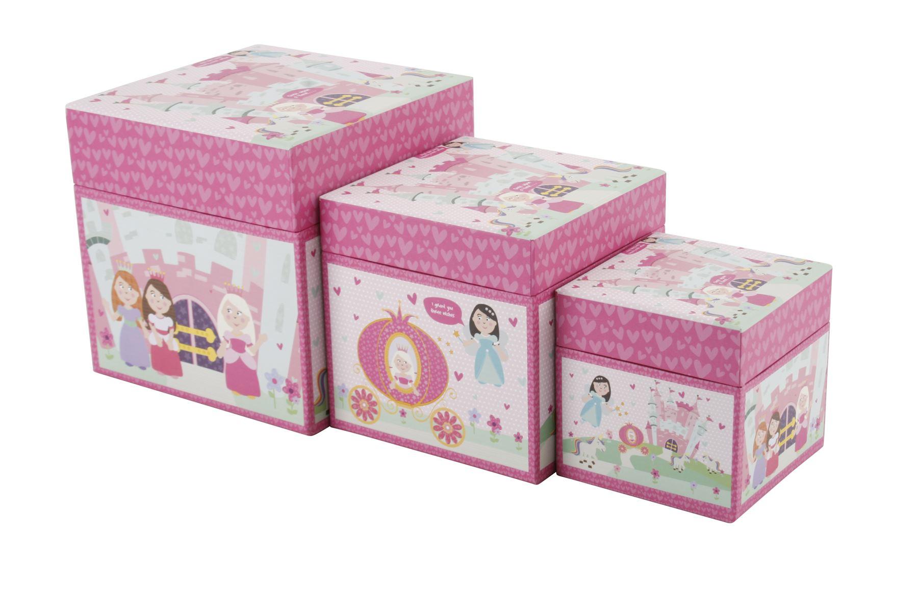 Kids Storage Cube Organizer Toy Box Kids Bedroom Furniture: SET 3 X GIRLS PRINCESS STORAGE BOXES Toy Kids Childrens