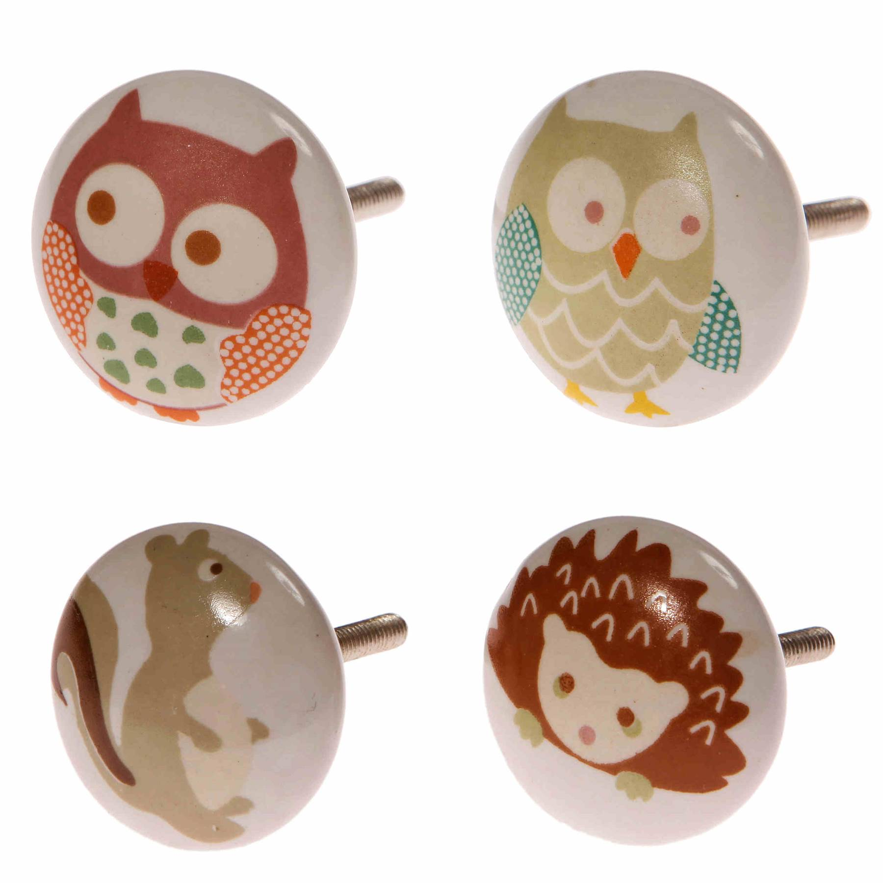Owls painted ceramic door knobs childrens nursery bedroom for Bedroom furniture knobs